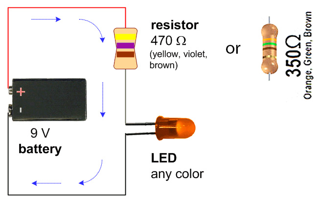 simple led circuit with 9v battery eric j forman teaching. Black Bedroom Furniture Sets. Home Design Ideas