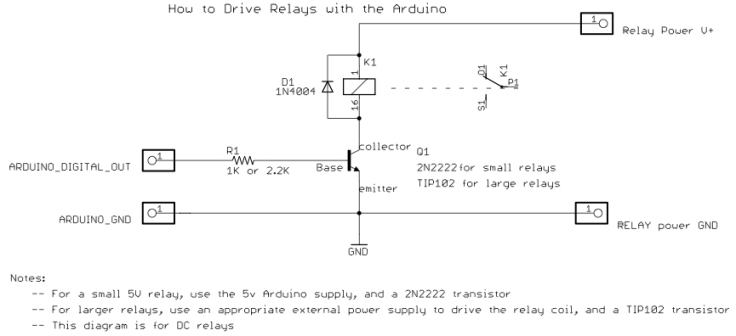 Arduino relay with transistor